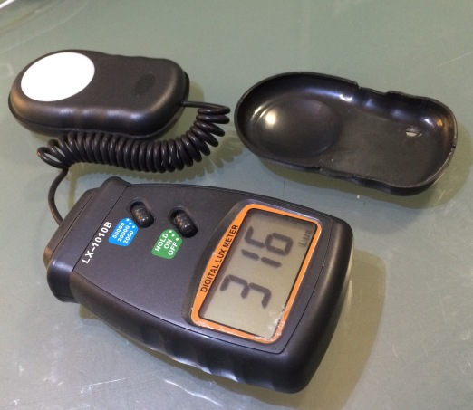 LX-1010B lux meter with all room and task lights turned on.